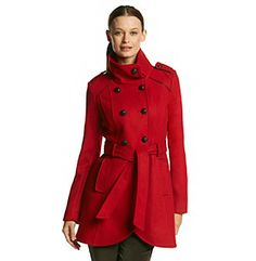 Product: GUESS Double-Breasted Belted Funnelneck Coat With Piping