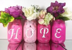Four Pink Jars - HOPE set of... from curiouscarrie on Wanelo