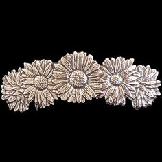 DAISY-Oberon-Design-PEWTER-BARRETTE-hair-clip-jewelry-flowers-blooms-PB63