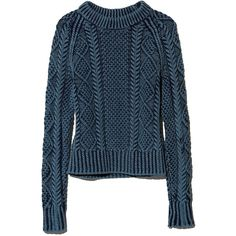 L.L.Bean Signature Signature Cotton Fisherman Sweater, Washed ($99) ❤ liked on Polyvore featuring tops, sweaters, fisherman knit sweater, cable sweater, cotton fisherman sweater, cable knit sweater and cotton sweaters