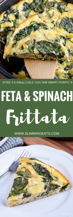 Spinach and Feta Frittata Slimming Eats, Slimming World Recipes, Clean Eating, Healthy Eating, Spinach Health Benefits, Vegetarian Recipes, Healthy Recipes, Healthy Dinners, Pie Recipes