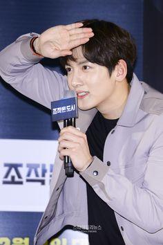 "[Movie] Ji Chang Wook meets fans at ""Fabricated City"" movie showcase Ji Chang Wook 2017, Dramas, Fabricated City, Kim Sang, Drama Korea, Korean Actors, Photo Galleries, Singing, Cinema"