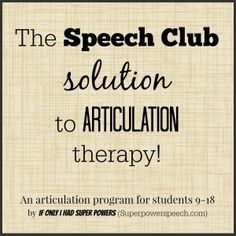 The Speech Club solution to articulation therapy!