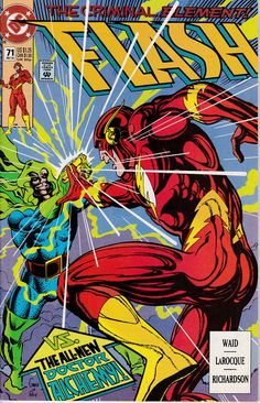 "Cover art by Greg LaRoque and Roy Richardson. Script by Mark Waid, pencils by Greg LaRoque, inks by Roy Richardson."": While Wally is waiting in line at the bank, the new Doctor Alchemy (calling himself The Alchemis. Flash Comics, Marvel Dc Comics, The Flash, Linda Park, The New Doctor, Mark Waid, Comic Books For Sale, Classic Comics, Dc Heroes"
