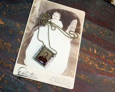 Original Soldered Pendant  Gem Tintype  Resin by AVintageSeason