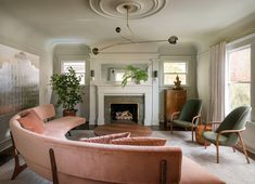 """Lush Luxe: An """"Ode to the Pacific Northwest"""" in a Portland Craftsman - Remodelista Gray Mirage walls BM Gebogenes Sofa, Couches, Built In Sofa, Curved Sofa, Street House, Formal Living Rooms, Interiores Design, Portland Oregon, House Tours"""