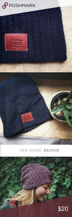 7ca25767f4328 Never Worn Love Your Melon Navy Beanie Navy beanie with brown leather patch  debossed with the