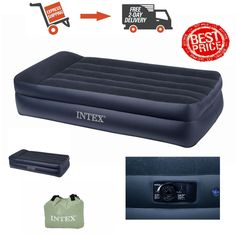 Intex Pillow Rest Raised Airbed Kit  Built-in Pillow and Electric Pump Standard  #Intex