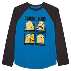 "Boys 8-20 Despicable Me ""Current Mood"" Raglan Tee, Size: 10-12, Grey (Charcoal)"