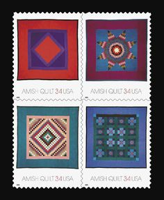 Amish quilt postage stamps -- On August 9, 2001, the USPS issued a set of four commemoratives featuring Amish quilts.