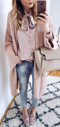 #winter #outfits  beige cardigan