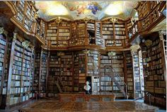 Florian Monastery, Sankt Florian, Austria and it is simply stunning. It's beauty is captivating with its medieval manuscripts and is a must-see in Austria. The walls are covered with books, ornate showcases and jaw-dropping ceiling paintings. Beautiful Library, Dream Library, Library Books, Future Library, Magical Library, Hogwarts Library, Local Library, Saint Florian, Austria