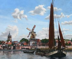 Gezicht op Gorinchem met molen 'de Eendracht'  Olieverf op linnen, formaat 50 x 60 cm. Molen 'de Eendracht' werd in 1916 afgebroken.  View on Gorinchem, NL, with windmill 'de Eendracht' (Harmony)  Oil paint on linen, size 50 x 60 cm. Windmill 'de Eendracht has been demolished in 1916.  Painting by Bram de Jong, www.agdj.nl