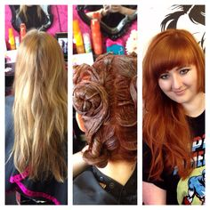 Before and after blonde red head fire orange