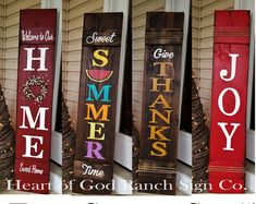 Porch Sign Set 5 All Season Collection Two Reversible Signs Spring Welcome Happy Fall YAll JOY Reclaimed Hard Woods Customizable Holiday Signs, Christmas Signs, Merry Christmas, Fall Crafts, Holiday Crafts, Holiday Wreaths, Holiday Ideas, Front Porch Signs, Patio Signs