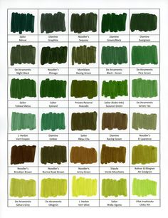 Figure 4: Swab blocks Colors are reasonably accurate, except that Noodler's Army Green and Diamine Racing Green both appear browner on the scan than they are in reality.