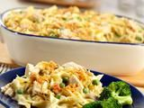 Tuna Noodle Casserole 1 can (10 3/4 ounces) Cream of Celery Soup  1/2 c milk 1 cup Birds Eye® Sweet Garden Peas 2 cans (about 6 oz ea) tuna, drained 2 c med egg noodles, cooked 2 T dry bread crumbs 1 T butter, melted Heat oven to 400F. Stir soup, milk, peas, tuna & noodles in a 1 1/2-qt baking dish. Stir crumbs & butter in small bowl. Bake 20 min or til mixture is hot & bubbling. Stir; sprinkle w/bread crumb mixture. Bake for 5 min or til bread crumbs are golden brown.