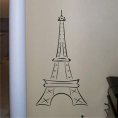Items similar to Vinyl Wall Art - Eiffel Tower Tall 48 inches - Wall Decals on Etsy Eiffel Tower Tattoo, Eiffel Tower Drawing, Eiffel Tower Art, Vinyl Wall Art, Wall Decals, Parisian Bathroom, Paris Wallpaper, Kids Room Organization, Envelope Art