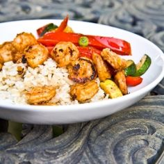 Paprika Lime Shrimp on a bed of sauteed vegetables and brown rice.
