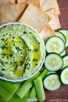 Kick up a classic dip with this quick, easy and healthy recipe for creamy green pea and edamame hummus.