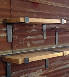 "One Reclaimed Wood Shelf 48"" X 11"" With Two Handcrafted Metal Shelf Brackets By…"