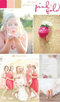 Our favorite color is... Sparkles! | Pink and gold wedding color inspiration