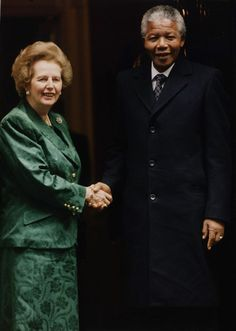 """BAD WORDS WILL SURELY COME BACK TO HAUNT: a pic of Margaret Thatcher & Nelson Mandela. This is what she had to say about him a few years before they met: """"Anyone who thinks it is going to run the government in South Africa is living in cloud-cuckoo land'""""- Margaret Thatcher, 1987"""