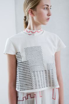 Embroidered top from collection Požoň by AWAclothes. Minimalistic look! Embroidery Fashion, Embroidery Dress, Minimalist Dresses, Student Fashion, Cool Tees, Sunnies, Stylists, Logo Design, Crop Tops