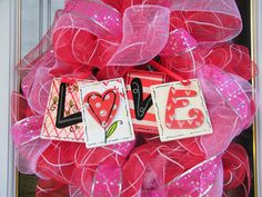 Valentine Deco Mesh Wreath by CharmedSouth on Etsy
