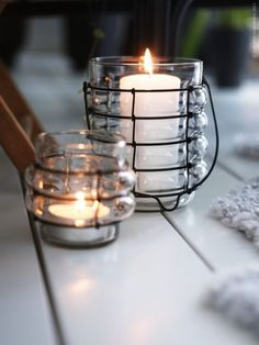 <3 candles and cute containers...