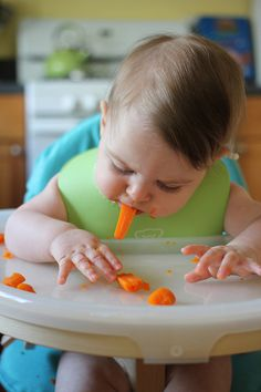 Baby-led weaning: steamed carrots