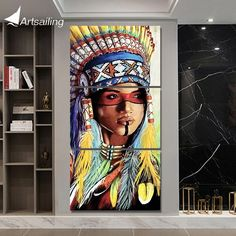 3 piece canvas art Painting native American Indian with feather decoration pictures for living room Poster – Indian Living Rooms American Indian Girl, Native American Girls, 3 Piece Canvas Art, Abstract Canvas Art, Canvas Canvas, Decorating With Pictures, Decoration Pictures, Octopus Wall Art, Feather Wall Art