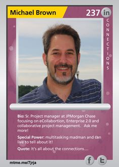 Sr. Project manager at JPMorgan Chase focusing on eCollabortion, Enterprise 2.0 and collaborative project management.  Ask me more!