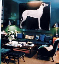 Such a tantalizing room.  Of course, the giant dog painting adds quite a bit of charm and interest.  Might be a bit dark for some taste, but as long as the room has plenty of natural light, I would give it a try.