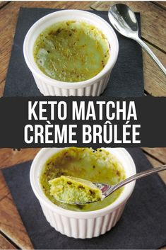 This low-carb keto matcha crème brûlée combines matcha's earthy flavors with creamy French-style custard. Sugar Free Sweets, Low Carb Sweets, Low Carb Desserts, Low Carb Recipes, Matcha Dessert, Brulee Recipe, Low Carb Protein, Keto Dessert Easy, Keto Cake