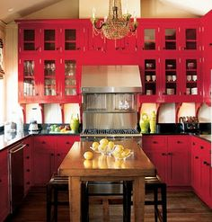 Hot Pink Cabinetry With Black Countertops Colorhouse Paint Red Kitchens
