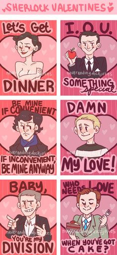 Sherlock Valentines (some jokes cruder than others...) -- Click the link to purchase from the artist! ♥