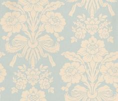 Tatton Duck Egg/Pale Linen (3443062) - Laura Ashley Wallpapers - A beautiful and elegant damask motif of luxurious floral bouquets in a shimmering pearlescent linen-cream on a stunning duck-egg blue background. Additional colourways also available. Please request a sample for true colour match.