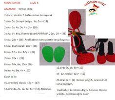 MİNNİ MAUSE TARİFİ Crochet Horse, Crochet Disney, Crochet Stitches, Crochet Mickey Mouse, Knitting And Crocheting, Crafts, Tricot, Craft, Herb