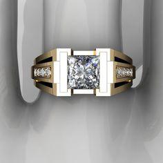 Solid Yellow Gold Ct Near White Princess Moissanite Engagement Ring Sapphire Diamond, White Sapphire, Real Gold Jewelry, Jewelry Rings, Yellow Gold Rings, Fashion Rings, Men Fashion, Rings For Men, Etsy