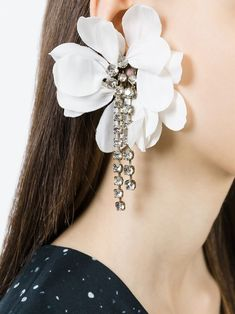 Lanvin aretes de clip con motivo floral