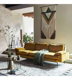 HK-living Bank Trendy Ochre 3-zits geel velvet 225x83x95cm - wonenmetlef.nl
