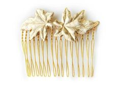 golden leaves hair comb.