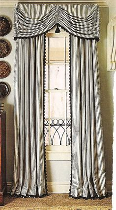 Love the stripes - design dump: window treatments: details and trim
