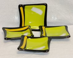 Fused Glass Wasabi Plates or Tea Bag Holders by MAIStuffStudio, $60.00