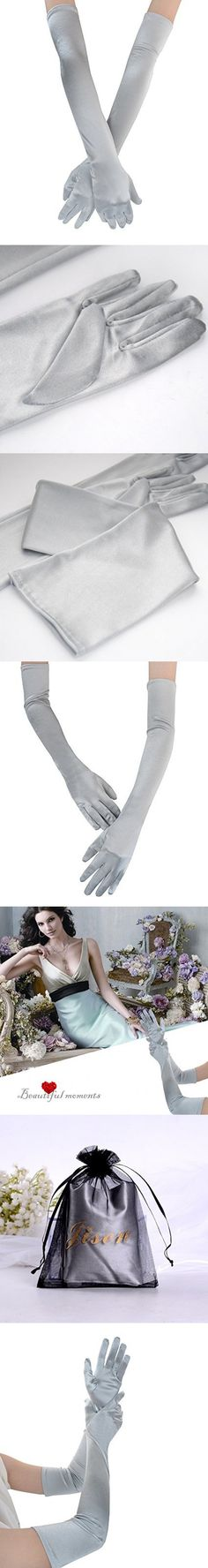 "JISEN Lady Formal Bridal Satin Banquet Party Wedding Gloves Gift Long 22"" (Grey)"
