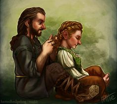 """Of hobbits and hair braiding. (Fem!Bilbo is the best thing ever okay) I keep imagining Thorin calling Billa his """"Shire girl with honey curls"""" and I…"""