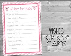 Wishes for Baby Cards Onsie Pink and White Baby Shower Printable Party Games Baby Bump Baby Girl INSTANT DOWNLOAD DIY