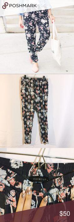 Navy pink floral joggers pants drawstring Breezy soft jogger pants gorgeous like new! Nordstrom Pants Track Pants & Joggers
