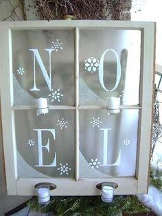 Primitive Folk Art Shabby Winter Frosted Christmas NOEL Window Sconce ePattern. $10.00, via Etsy.